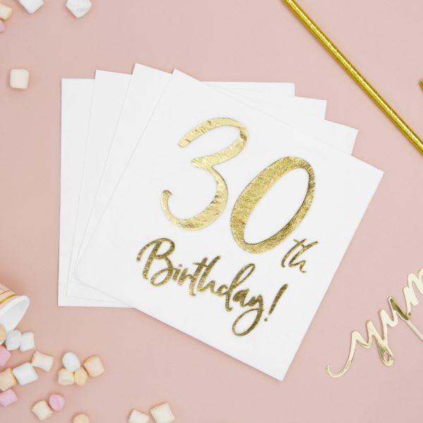 30 Års Servietter, Guld/Hvid