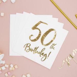 50 Års Servietter, Guld/Hvid