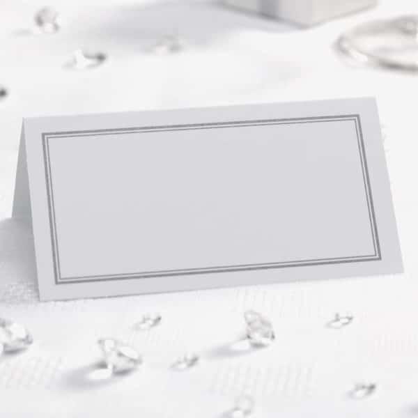 50x Hvide/Sølv Bordkort
