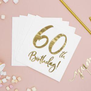 60 Års Servietter, Guld/Hvid