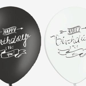 Sort/hvide Fødselsdags Balloner