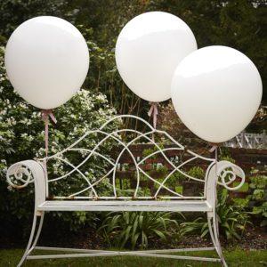 "3x Kæmpe Hvide 36"" Balloner"