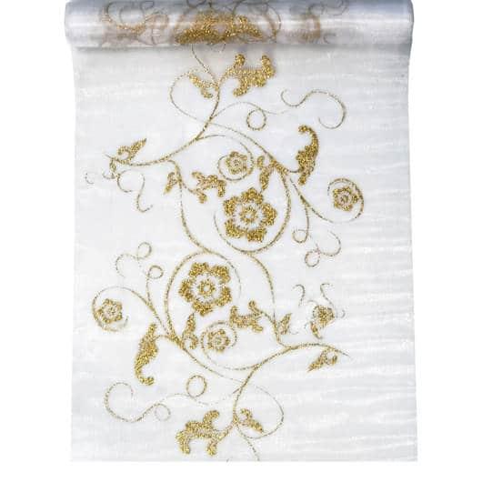Organza Bordløber med Guldmønster, Hvid