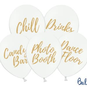 Balloons 30cm, Candy Bar, Chill, Dance Floor, Drinks, Photo Booth, Pastel Pure White (1 pkt / 5 pc.)