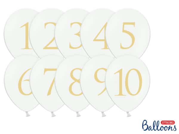 Balloons 30cm, Numbers, mix, Pastel Pure White (1 pkt / 10 pc.)