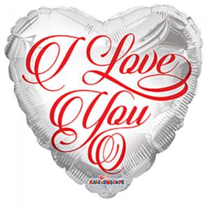 Folieballon Hjerte Hvid I Love You