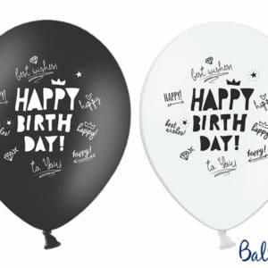 Happy B-Day Balloner, Sort/hvid