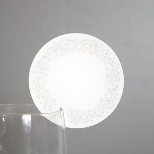 Bordkort - Hvid rund - Til glas - 10 stk