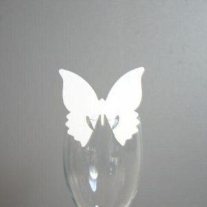Bordkort - Hvid sommerfugl til glas - 10 stk