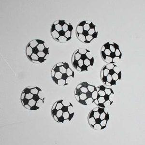 Fodbold flad - Hvid/Sort 2 cm - 12 stk