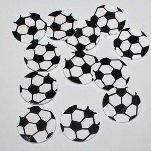 Fodbold flad - Hvid/Sort 3,5 cm - 12 stk