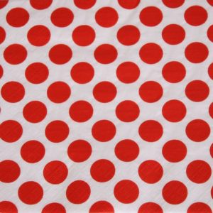 Frokost serviet - 20 stk. - 33 x 33 cm - Hvid med røde prikker