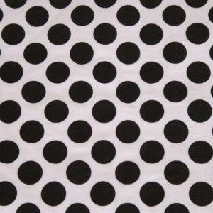 Frokost serviet - 20 stk. - 33 x 33 cm - Hvid med sorte prikker