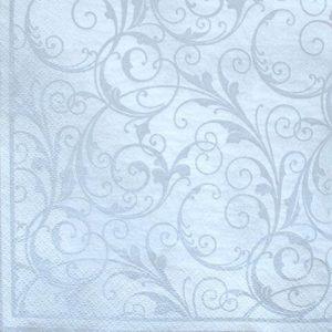 Frokost serviet - 20 stk. - 33 x 33 cm- Hvid og sølv mønster