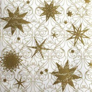 Tekstilserviet Christmas Dreams - Guld/Hvid - 40 x 40 cm - 12 stk