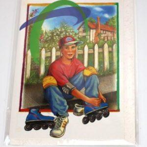 Tillykke kort med kuvert - Konfirmation -Dreng på rulleskøjter