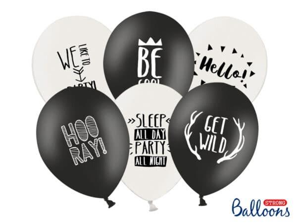 Balloner med Tekst, Sort/Hvid