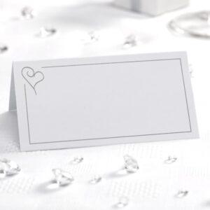 50x Hvide/Sølv Hjerte Bordkort