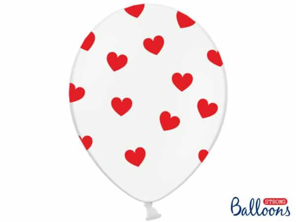 Balloner med Hjerter, Pastel Hvid