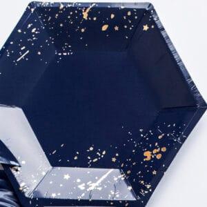Mørkeblå/Guld Tallerkener