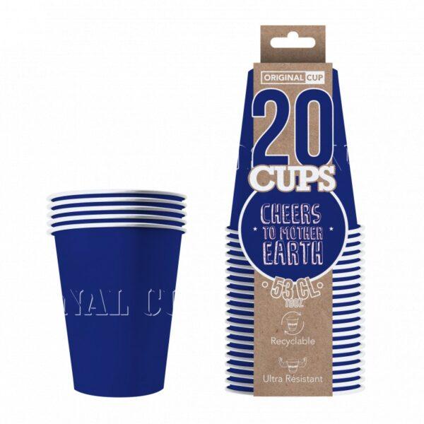 20x Orignal Cup: Blå Papir Kopper