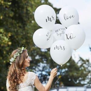 Hvid Bryllup Ballon Buket