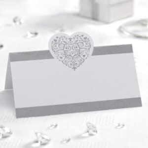 50x Hvide/Sølv Vintage Bordkort